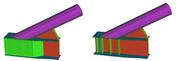 Modellazione agli elementi finiti del nodo arco – catena con elementi tipo shell
